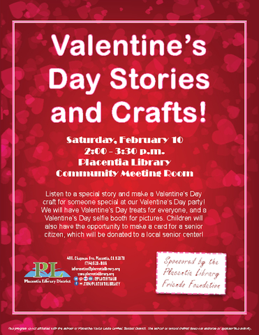 valentine's day stories and crafts | placentia library, Ideas